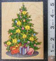 PENNY BLACK CHRISTMAS TREE CANDLE PRESENTS Rubber Stamp #734