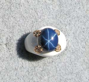 BLUE STAR SAPPHIRE CREATED GOLD PLATED NONPRECIOUS METAL ACC RING