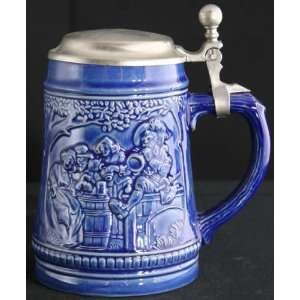 Vintage German Blue Barware Ceramic Beer Stein Gerz Drinkers Garden