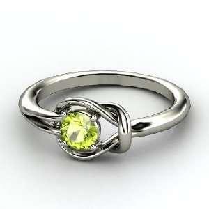 Hercules Knot Ring, Round Peridot Platinum Ring Jewelry