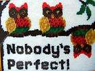 MCG TEXTILES LATCH HOOK RUG CAVAS KIT, OWLS NOBODYS PERFECT