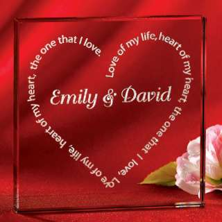 Personalized Love Poem Glass Keepsake Block: Personalized Gifts