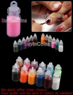 12 Color Glitter Decor Nail Art Powder Dust Bottle Set