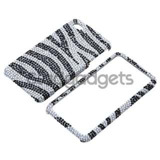 Black Zebra Bling Diamond Case+Stylus+Privacy SPT For iPhone 4 s 4s 4G