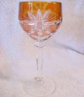 Red Cut to Clear German Lead Crystal Goblet Original Label