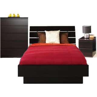 Laguna 3 Piece Full Bed, Night Stand and 5 Drawer Chest Set, Lacquered