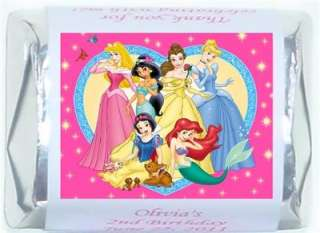 60 DISNEY PRINCESS BIRTHDAY PARTY CANDY WRAPPERS FAVORS