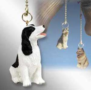 Springer Spaniel Black White Dog Figurine Finial Hand Painted Light