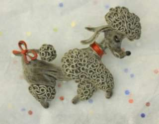 Darling Gerrys Pewter Tone Gray Poodle Dog Brooch Pin Vintage
