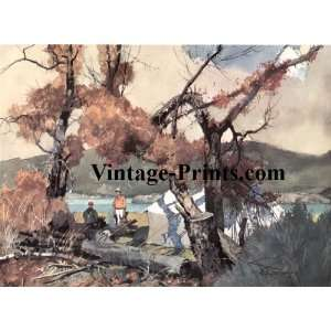 Roy Martell Mason Fly Fishing Print   Ox Bow Camp  Home