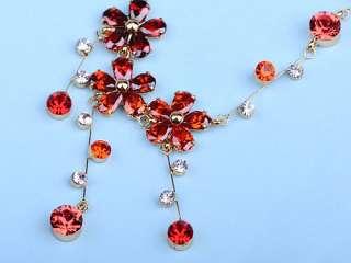 Fire Orange Red Petite Petal Flower Swarovski Crystal Necklace Earring