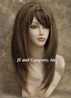 100% HUMAN HAIR Brown Blonde Straight WIG BANGS fringe