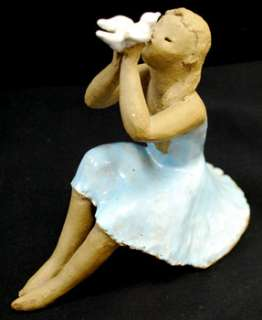 Vintage Antique Japanese Clay Doll Figure Signed GREAT
