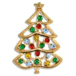 Gold Christmas Tree Pin with Rhinestones Jewelry