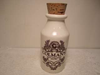 COLMANS MUSTARD JAR& CORK LID LORD NELSON POTTERY ENGLAND 5 1/2 IN