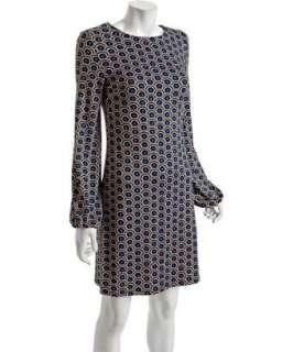 JB by Julie Brown royal blue scalloped print Benny crewneck dress