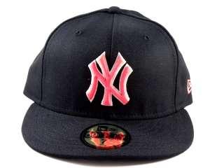New Era Yankees 5950 Black/Lava Pink Fitted Hat Cap Men