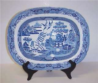 ANTIQUE IRONSTONE BLUE WILLOW PLATTER 1800S