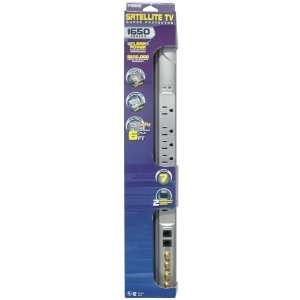Prime PB003115 Satellite TV 7 Outlet 1650 Joule Surge Protector 6 Foot