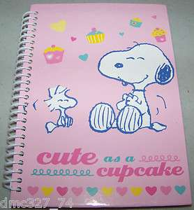 PEANUTS Snoopy Woodstock CUTE AS A CUPCAKE Spiral JOURNAL Notebook