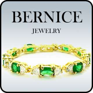 PERSONALIZED JEWELRY GREEN EMERALD YELLOW GOLD PLATED GP BRACELET HAND