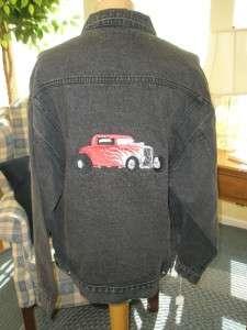 Black Denim Jacket Embroidered Hot Rod Mens Sz XL #6