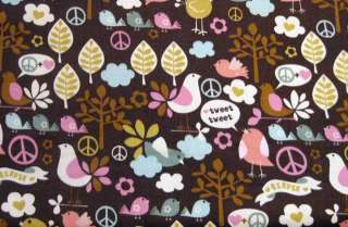 PEACE SIGNS Girl PINK BROWN Rag Quilt Kit 84 6 Square