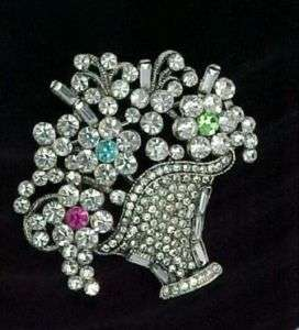 AUSTRIAN CRYSTAL RHINESTONE FLOWER BASKET BROOCH PIN