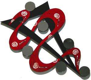 Red, Black ABSTRACT ART WALL SCULPTURE with MIRRORS