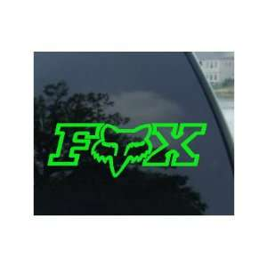 FOX RACING LOGO W/FACE   6 LIME GREEN Decal   NOTEBOOK, LAPTOP, IPAD