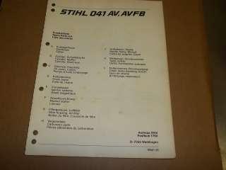 a961] Stihl Parts List Manual 041 AV Chain Saw 1980s