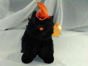 New 14 Plush Black Cat Halloween Orange Witch Hat Toy
