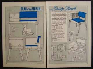 Gossip Bench Telephone Stand 1953 How To build PLANS Modern Eames Era