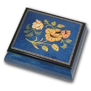 ASTOUNDING Dark Blue Floral Reuge Musical Box