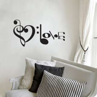 Music Notes Spelling Love Wall Decal Vinyl Art Sticker