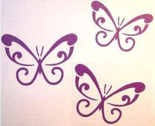 LARGE PURPLE Swirl Butterfly Wall Car Decals Removabl