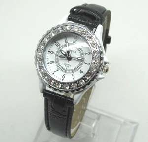 wristwatches quartz watch crystal womens watches black leather band