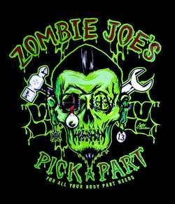 NEW Zombie Joes hot rod car work shirt, Lucky 13, M