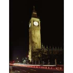 View of the Famous Big Ben Clock Tower Illuminated at